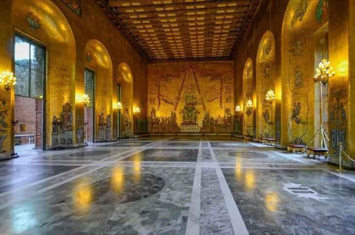 The lavish Golden Hall in Stockholm's City Hall