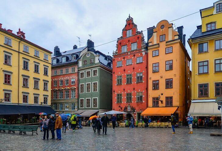 Colourful Stortorget Square, in Gamla Stan, Stockholm