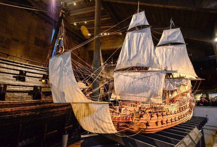A replica of the Vasa ship in one of Stockholm's top museums