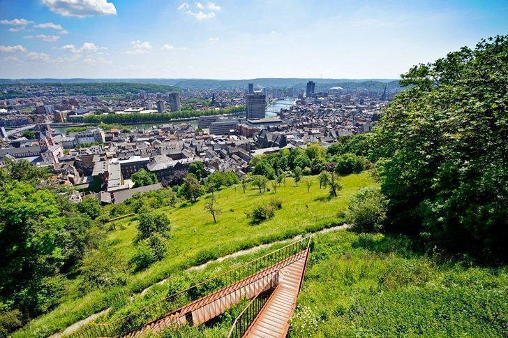 The view of Liege Belgium from the Monument du 14e Ligne