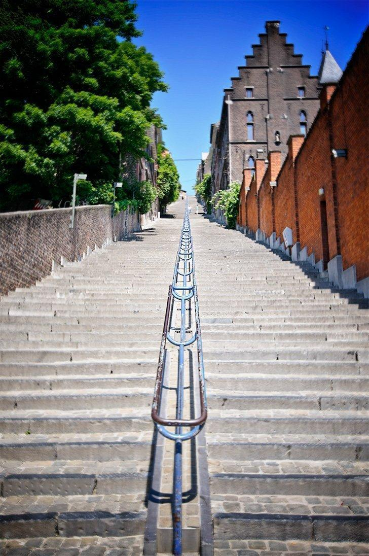 Climb the steps of the Montagne de Bueren for a spot of Liege sightseeing