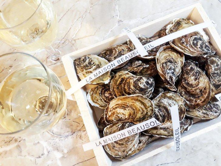 Indulge in Maison Beau Soleil oysters from New Brunswick.