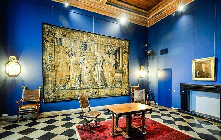 Tapestries adorn the walls of the Palace of the Grand Dukes of Lithuania