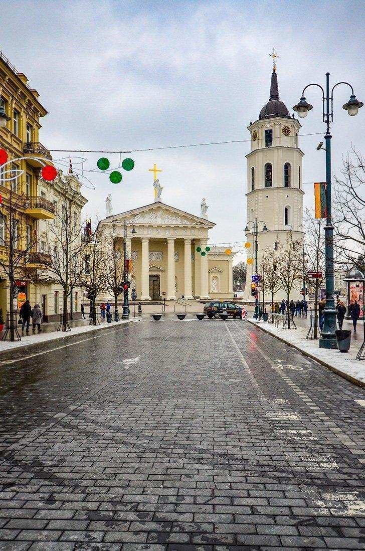 Visiting Vilnius Cathedral is one of the best things to do in Vilnius in winter.