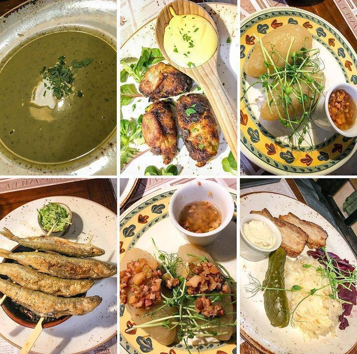 Traditional Lithuanian food at Forto Dvaras Restaurant in Vilnius Lithuania
