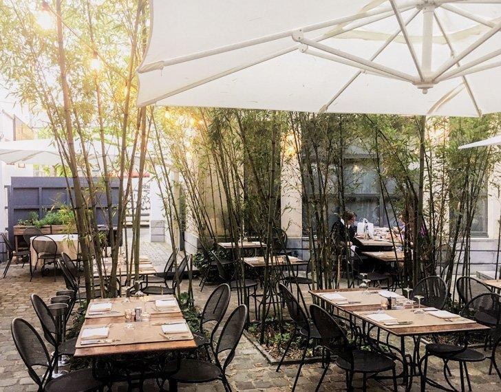 The summer terrace at La Manufacture restaurant in Brussels Belgium