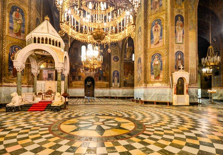 Inside the beautiful Bulgarian Orthodox Alexander Nevsky Cathedral, in Sofia, Bulgaria