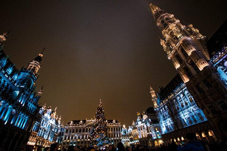 Lights, music, and loads of festive spirit at the Grand Place Christmas light show in Brussels, Belgium.