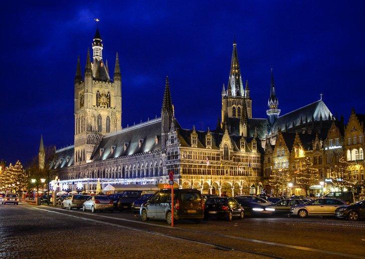 Ypres, Belgium Christmas Market at night.