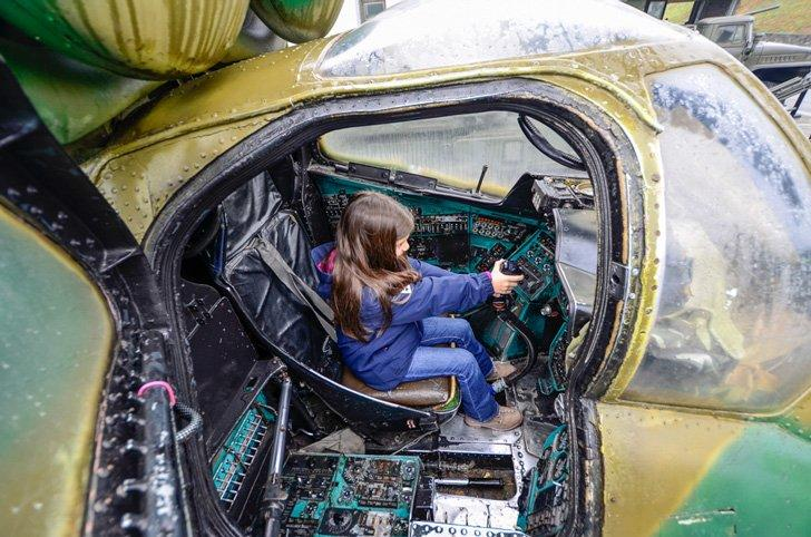 Kids can get in the cockpit at the Museum of The History of Ukraine in World War II