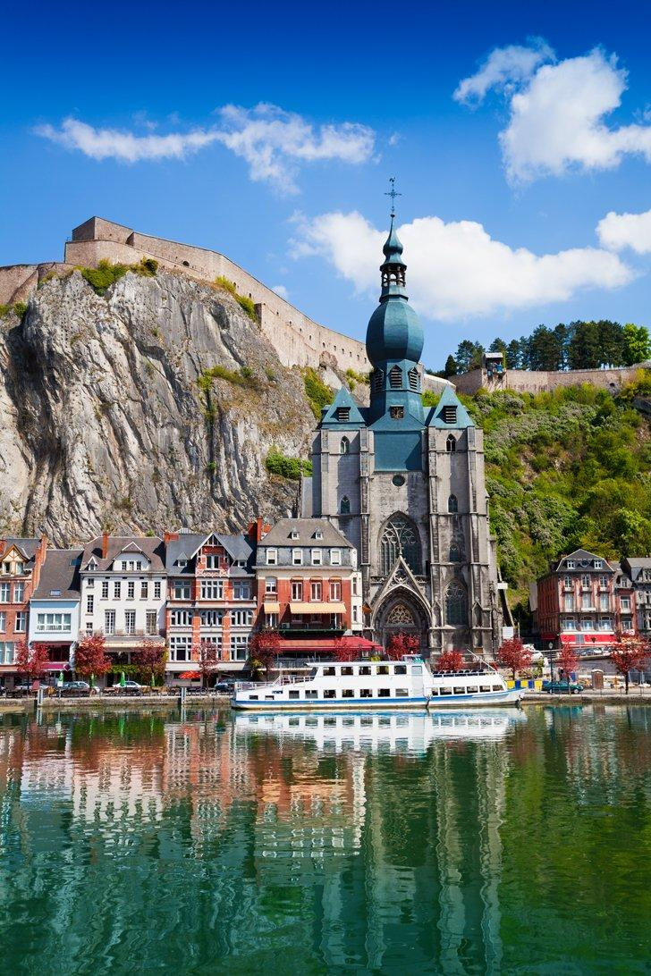 The dome of the Collegiate Church of Notre-Dame is one of the most recognisable attractions in Dinant, Belgium