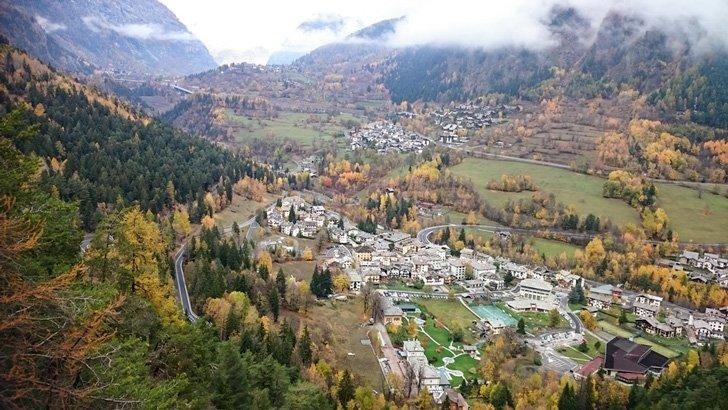Views down to the picturesque village of Pre-Saint-Didier, home to the famous Thermal Spas.