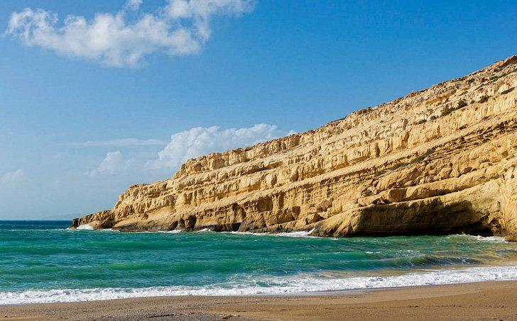 Take a day trip to Matala to see the unique cliffs and caves.