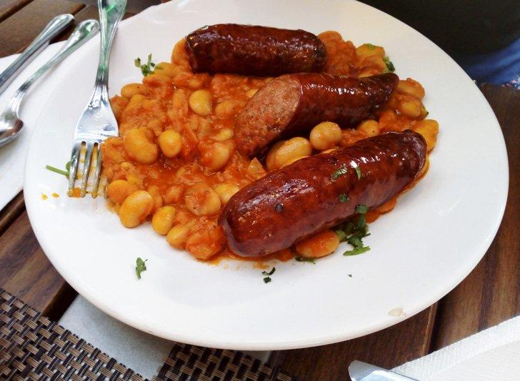 Beans and sausage from Casa Romaneasca restaurant in Brasov Romania
