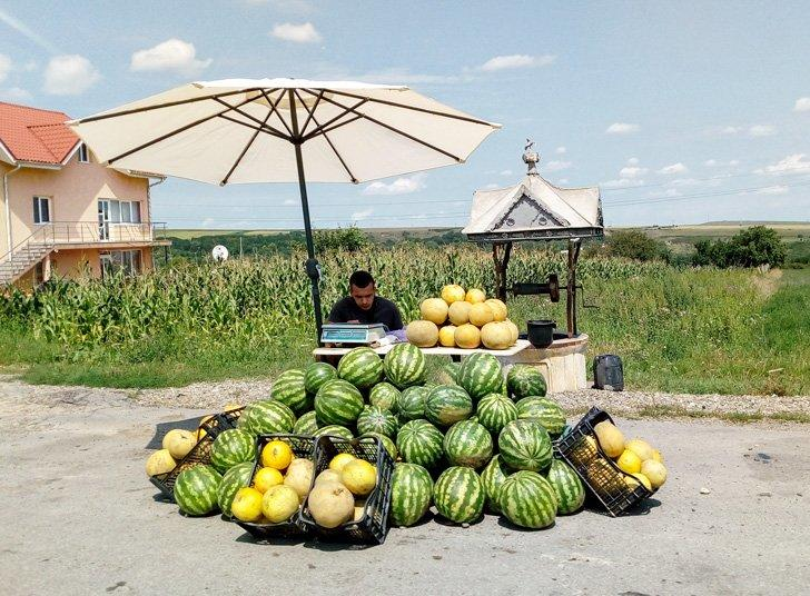 melon seller on a country road in moldova romania