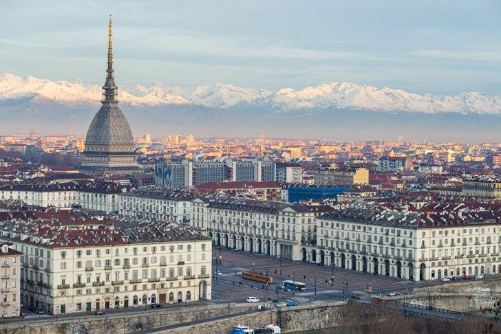 Turin, Italy, Piedmont's beautiful capital city in view of the Alps.