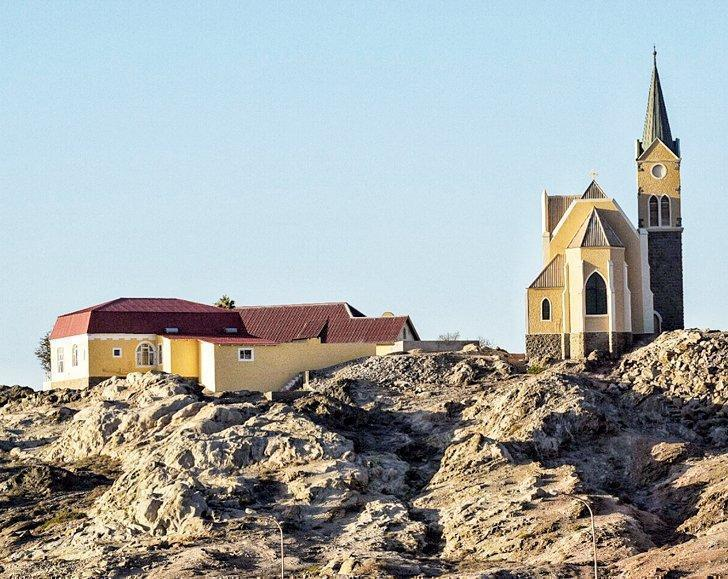 The Rock Church dominates Luderitz, Namibia's skyline.