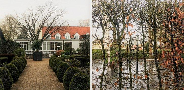 A stroll through the trees leads to the hotel rooms at De Watermolen.