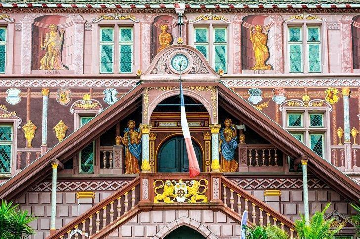 The brightly decorated facade of Mulhouse's Old Town Hall.