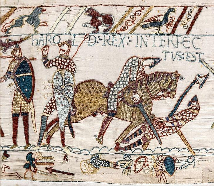 A tiny section of the Bayeux Tapestry in Normandy, France