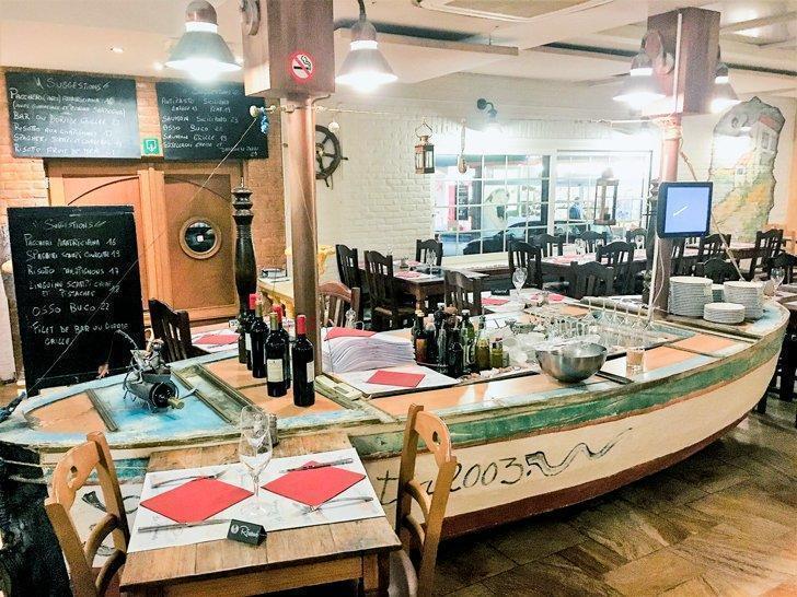 All aboard the wine-boat at La Barchetta.