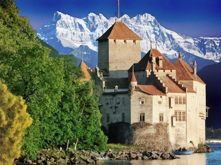 Magical Chillon Castle makes an easy day trip from Lausanne, Switzerland.