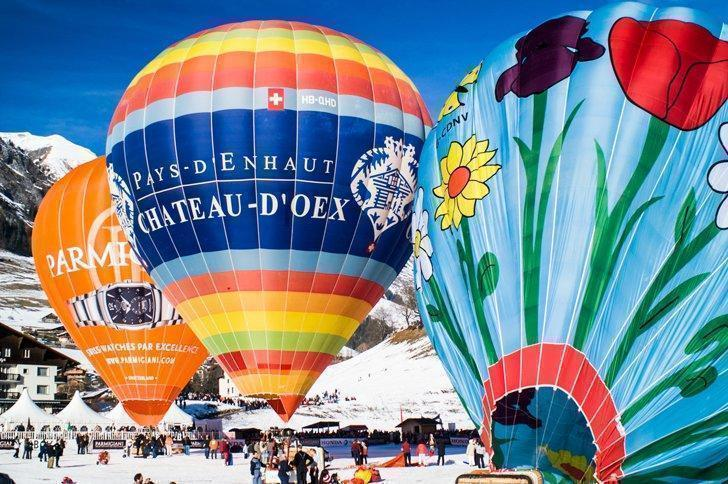 The Hot Air Balloon Festival in Chateau-d'Oex Switzerland