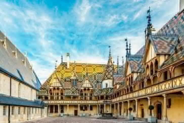 The magnificent Courtyard of Hospices de Beaune in Burgundy, France