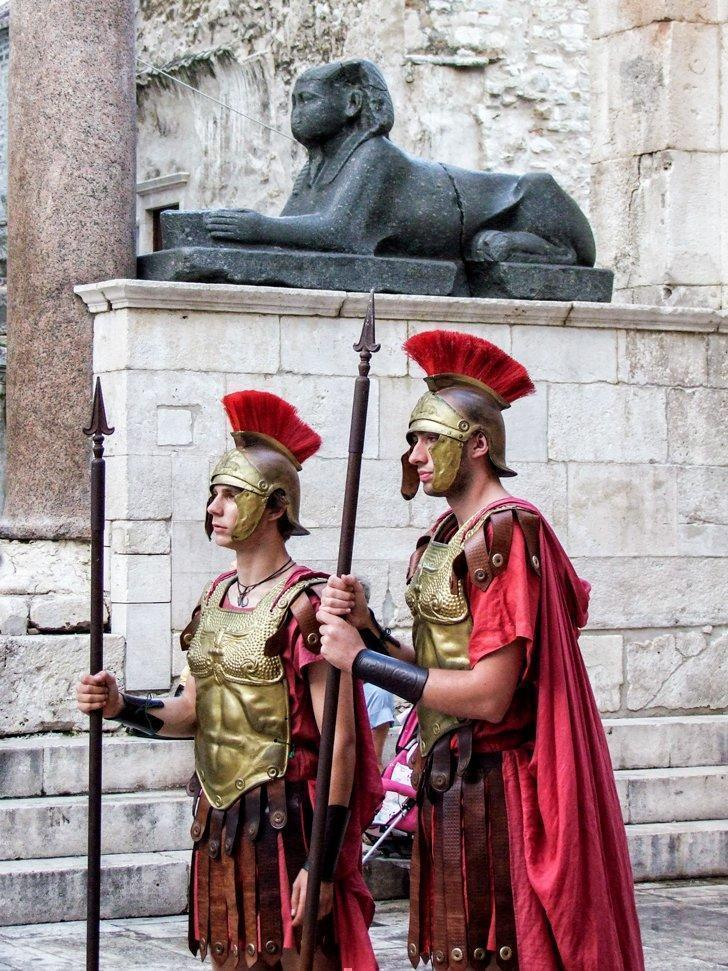 You can spot Roman soldiers and a sphinx inside Diocletian's Palace in Split, Croatia