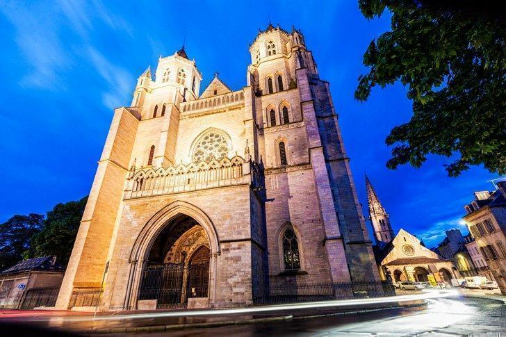Dijon Cathedral is a striking piece of architecture in Dijon, France