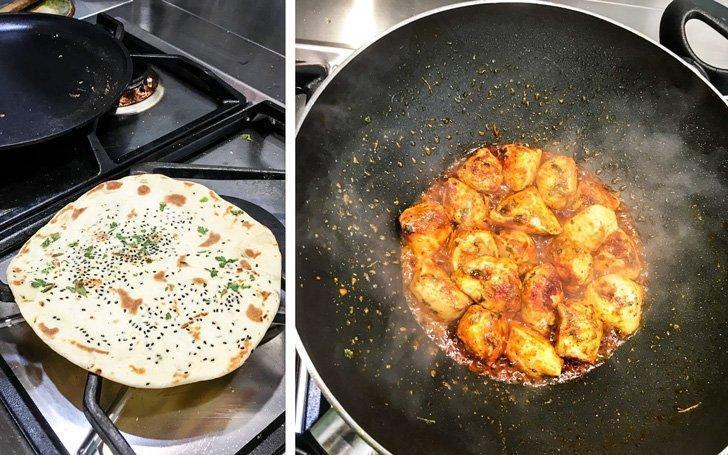 Freshly prepared naan on the stove along with butter chicken at an Indian cooking class in Belgium