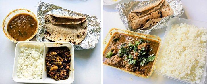 Nikki's lunch box option: vegetarian with fresh chapatis, rice, sambar and cauliflower peas vegetable (7 euros) and non-veg option with chapatis, rice and chicken curry (10 euros)