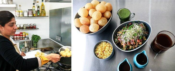 Ruhi frying the golgappas and then serving them with chickpeas, rice crisps, tamarind and sweet chutneys
