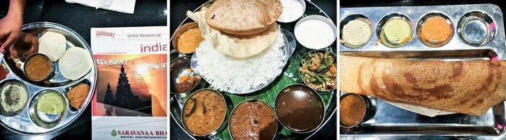 Left, Idlis (savoury rice cake) and right, dosas (crisp crepes with fermented batter) served with sambar (tangy lentil curry) and an assortment of chutneys at Sarvanaa Bhavan. Don't forget to dig into the thali (center pic) which is a complete platter with a variety of vegetables and curries