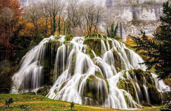 Waterfall of Tufs near the Jura mountain French village of Baume-Les-Messieurs