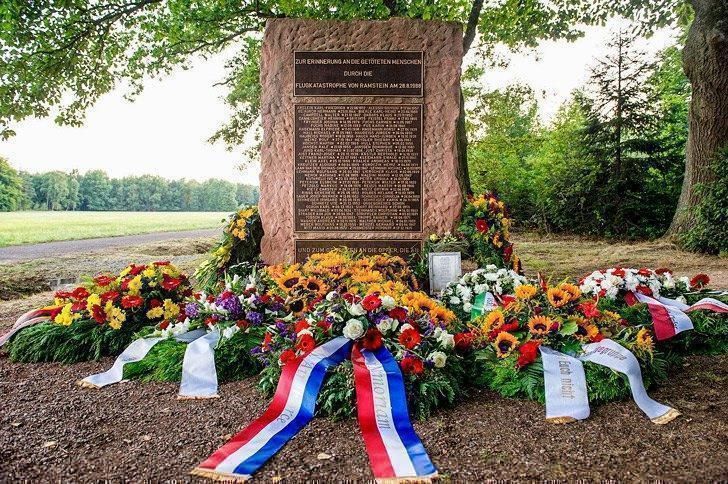 Wreaths lay at the memorial site of the 1988 Ramstein air show disaster, Aug. 28, 2013.