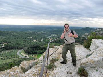 Andrew checking out the view from Les Baux (with his audioguide)